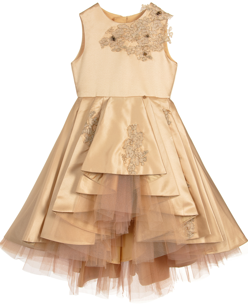 Gold Satin Lace Dress Sleeveless