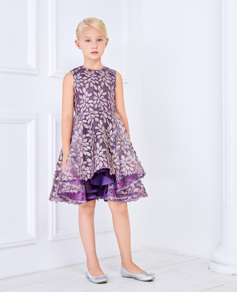 Purple and Gold Lace Dress