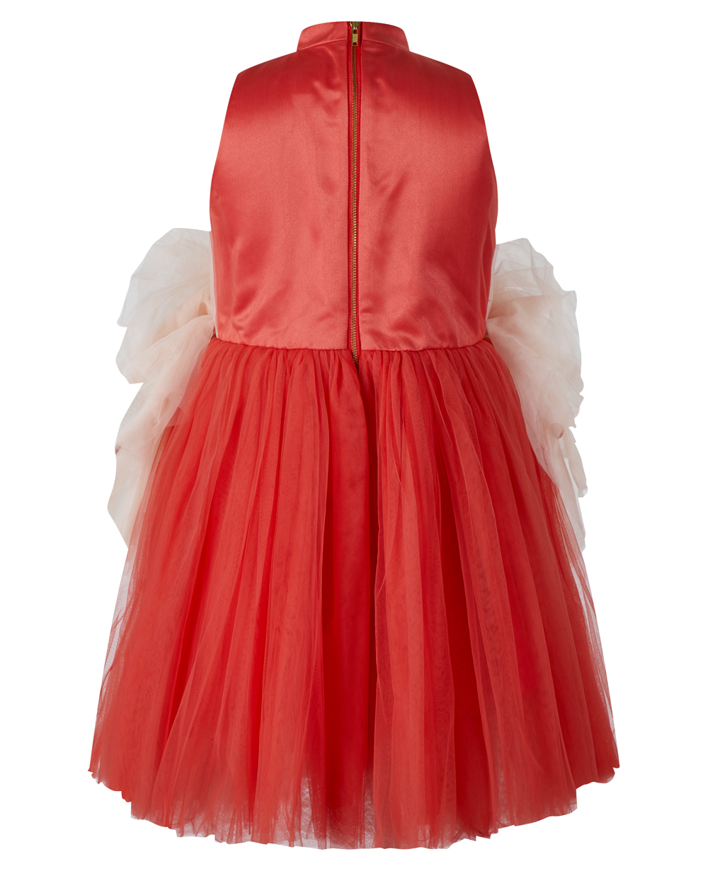Red & Pink Sash Tuelle Dress