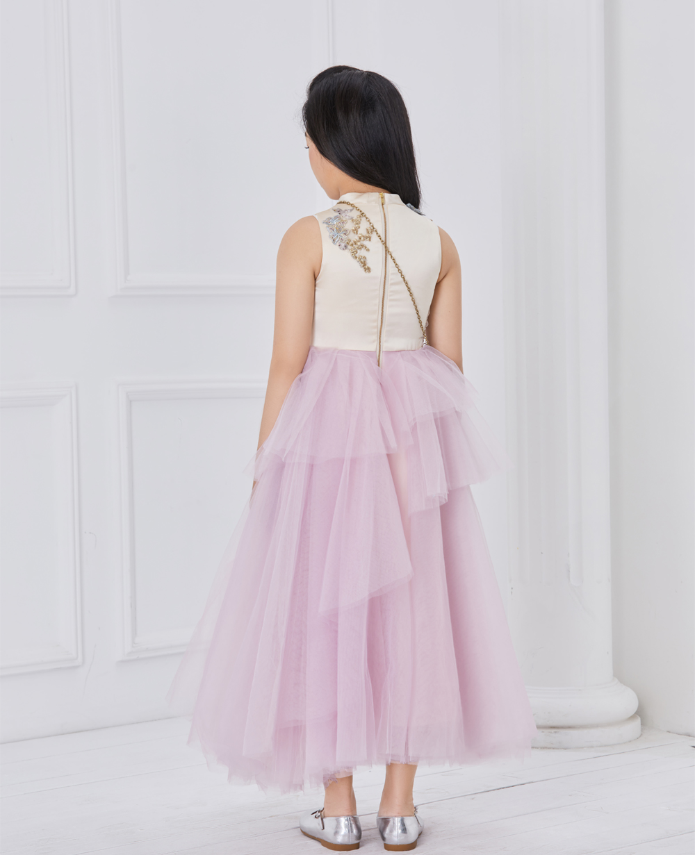 pink and purple princess tuelle dress