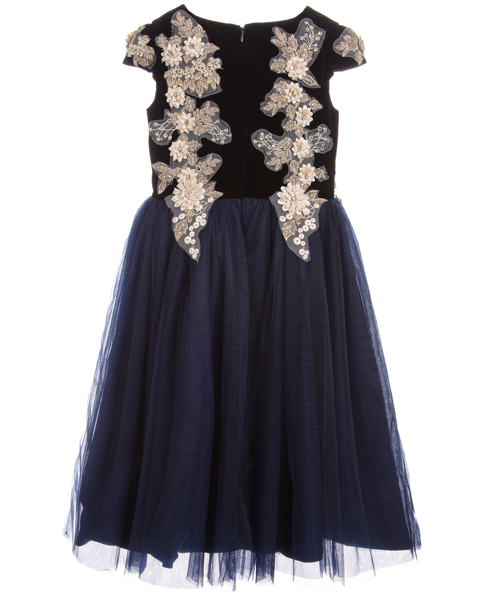 Blue Lace Maxi Dress Evening Gown Formal Wear