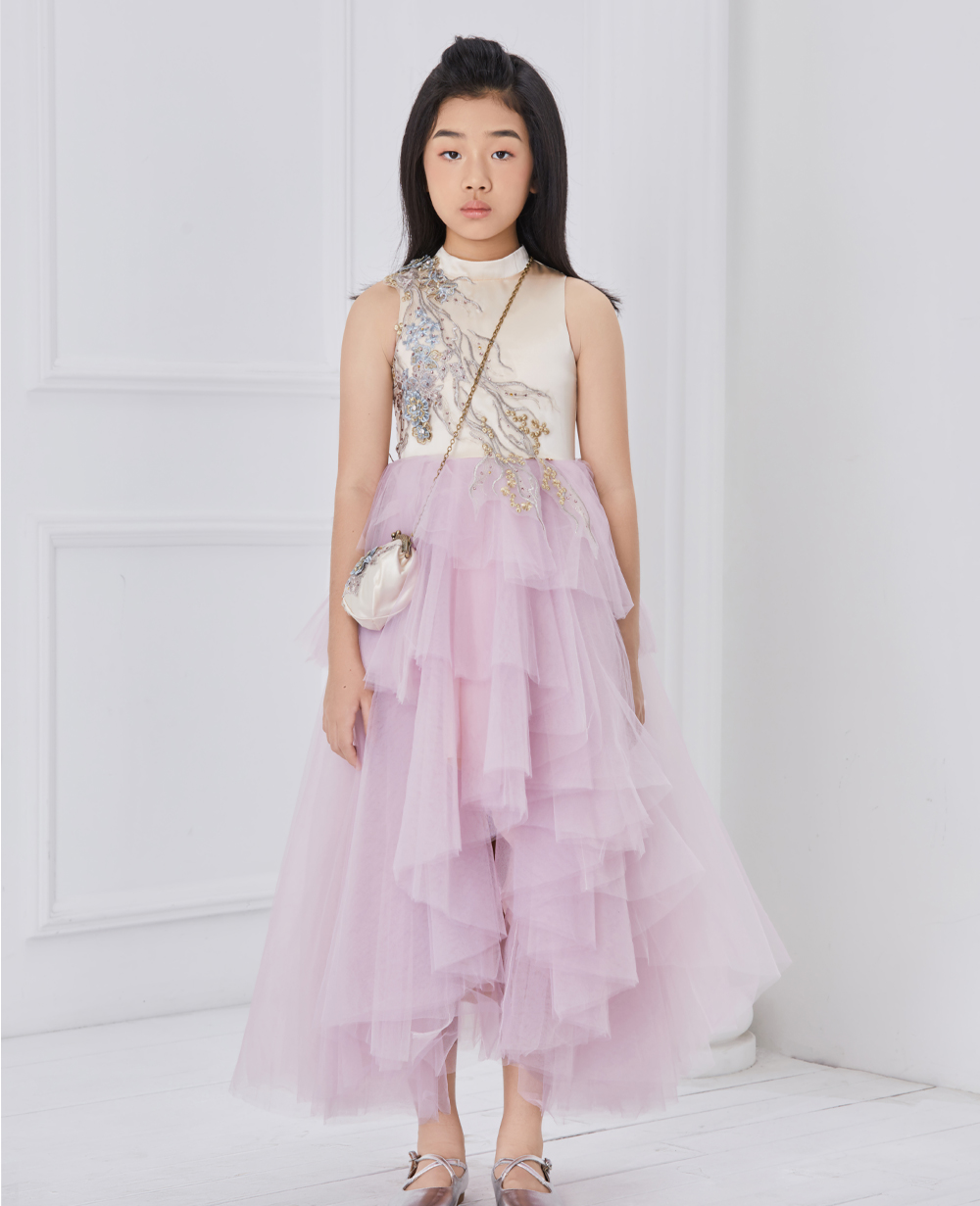 pink and purple princess tuelle dress