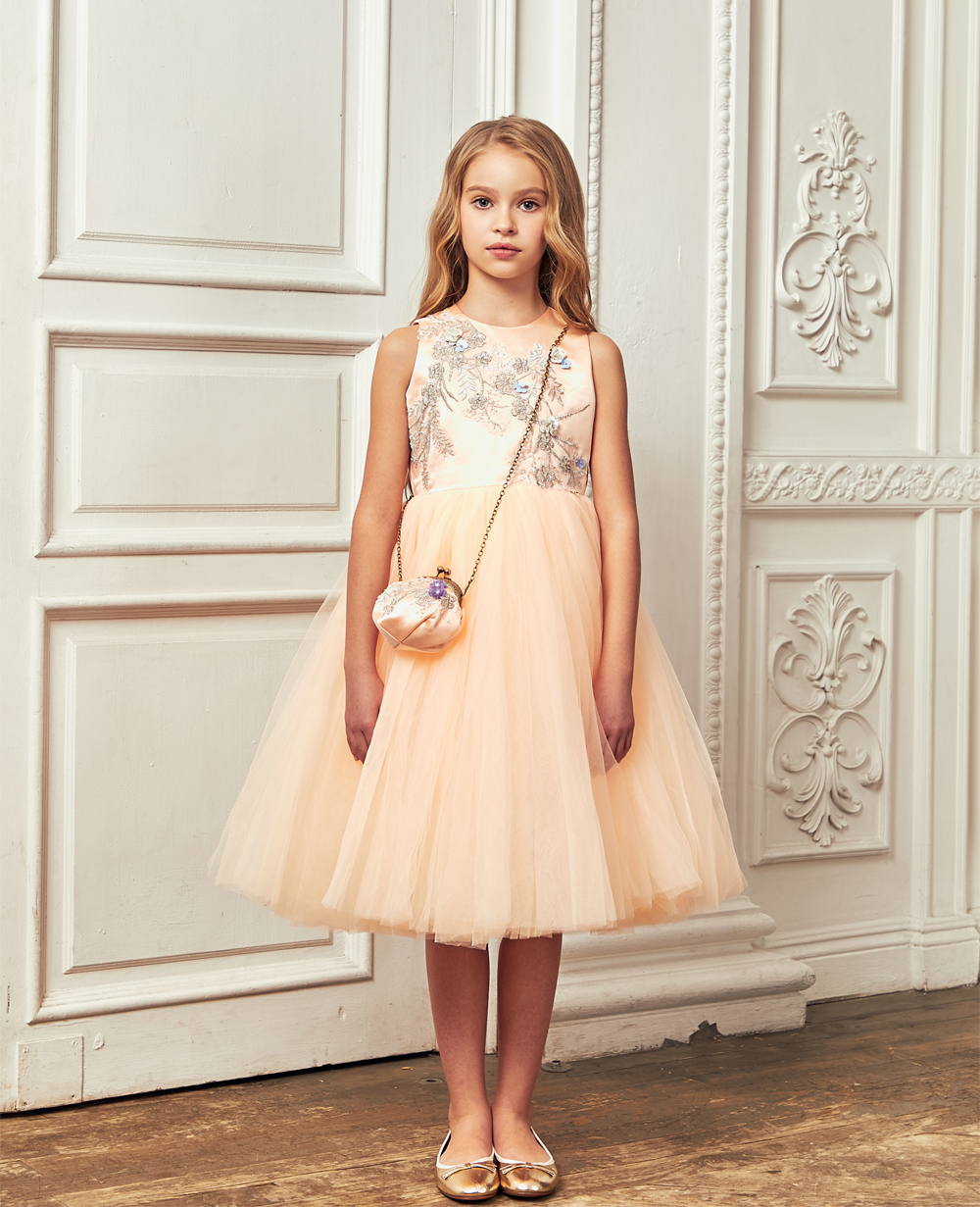 Peach Tuelle Full Length Skirt Dress