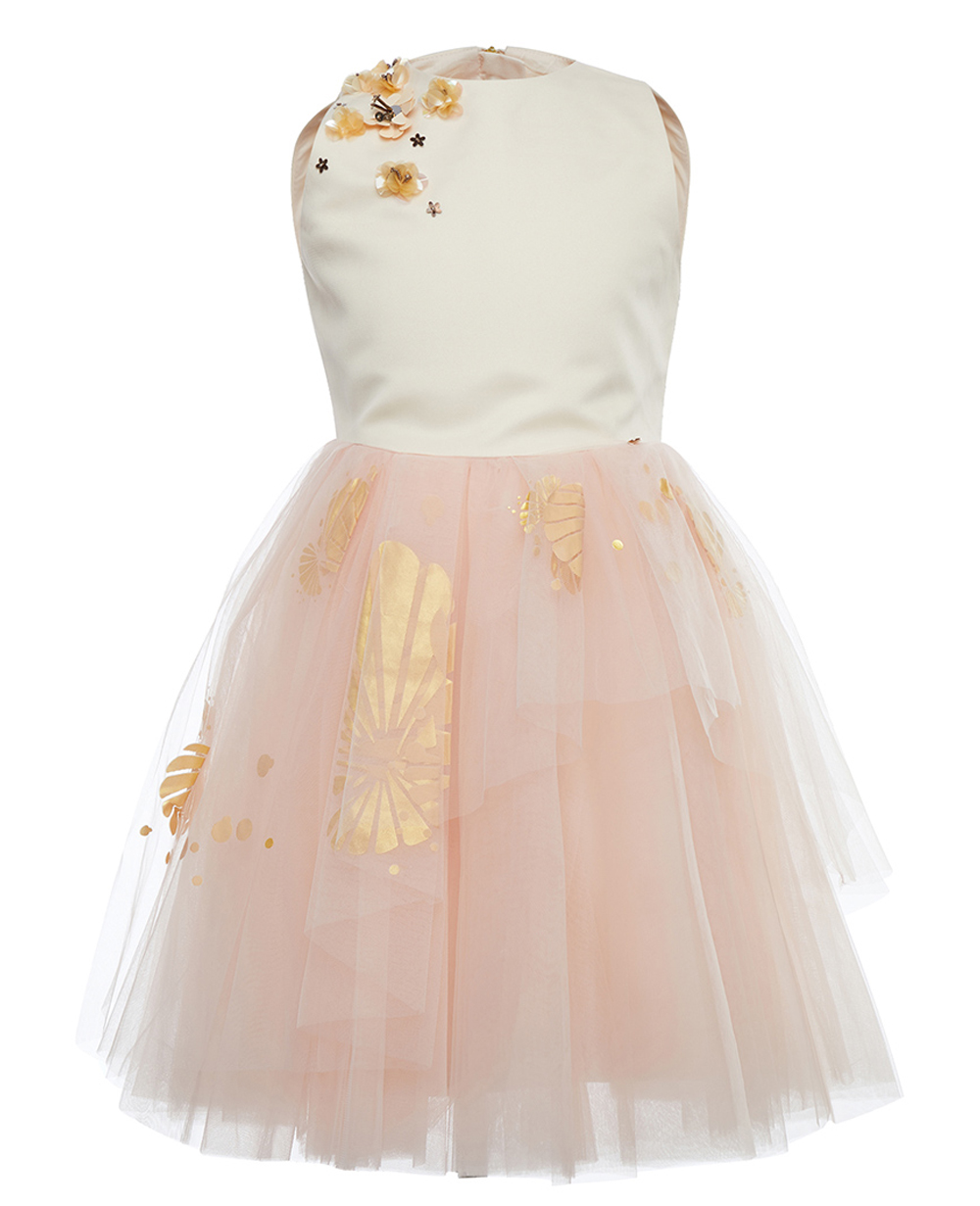 Girls Pink Satin & Tulle  Dress