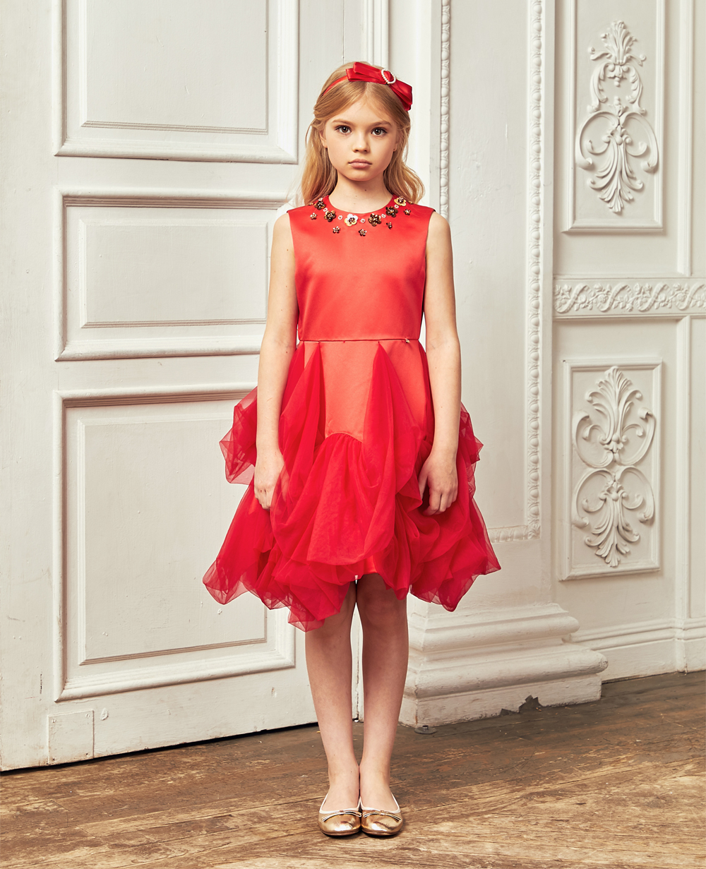 Red Silk and Frilled Skirt Tuelle Dress