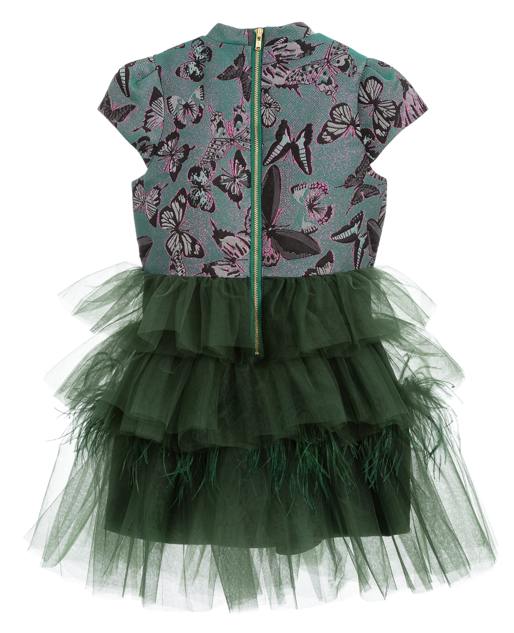 Emerald Green Brocade Tulle Dress Jacquard Dress