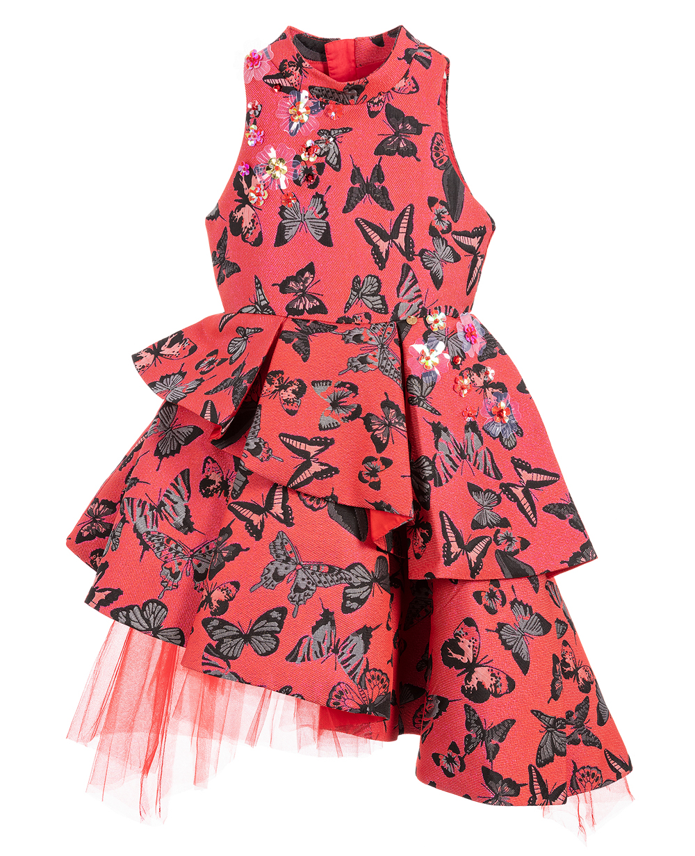 Red Brocade Princess Dress  Sleeveless Floral Dress
