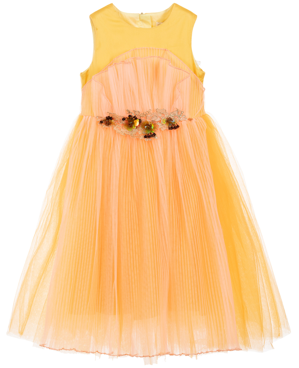 Orange Sleeveless Tulle Dress Embroidered Dress