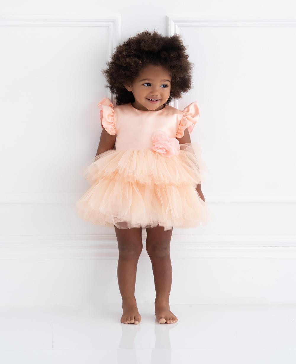 Peach Tuelle Baby Dress