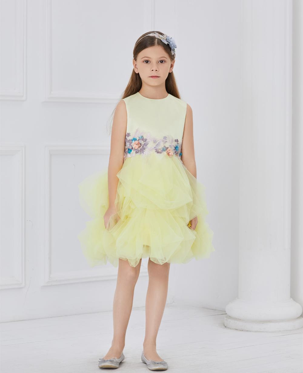 Pale Yellow sleeveless tuelle dress