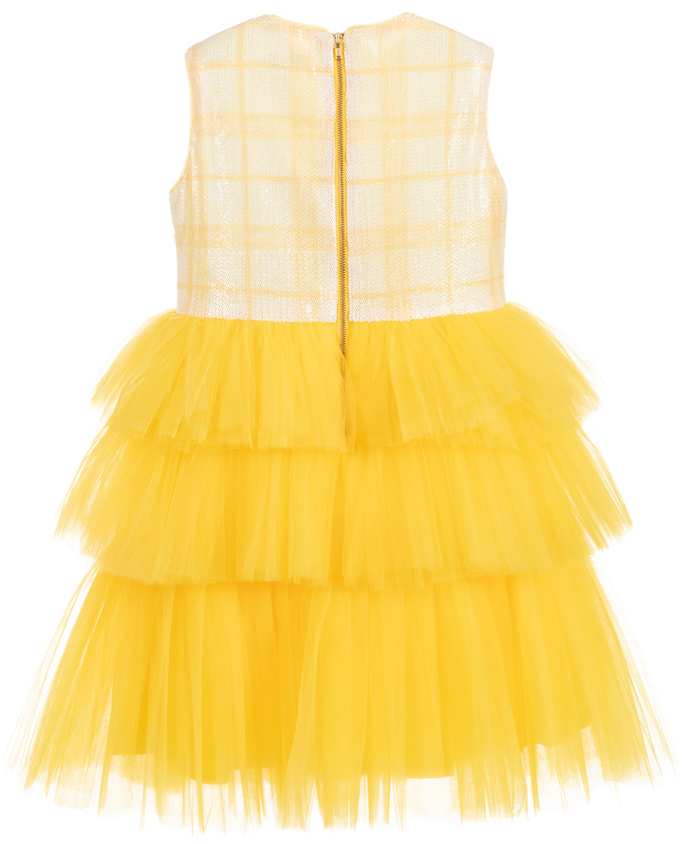 White & Yellow Layered Sleeveless Tulle Dress Sequin Party Dress