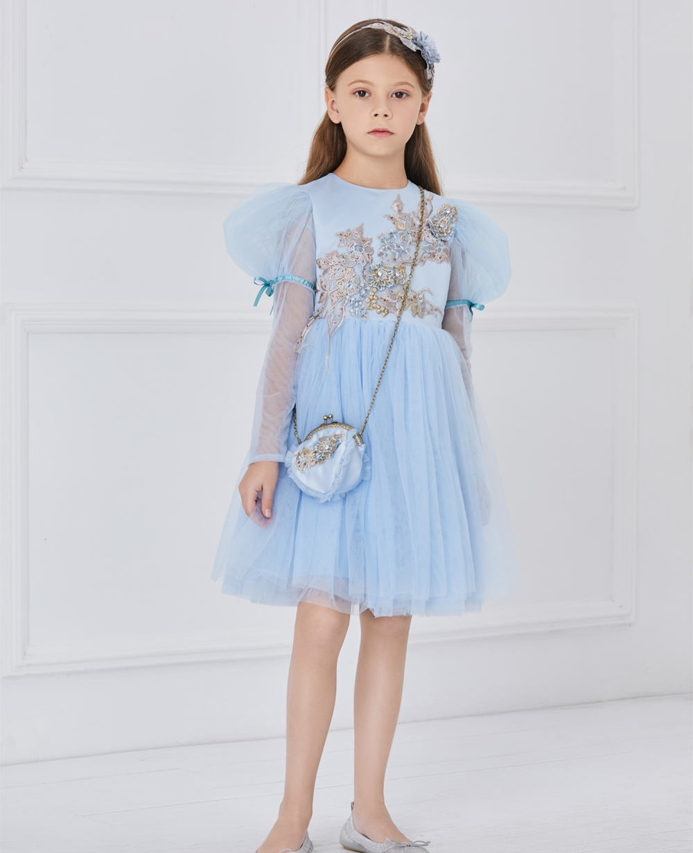 Blue capped sleeves tuelle dress