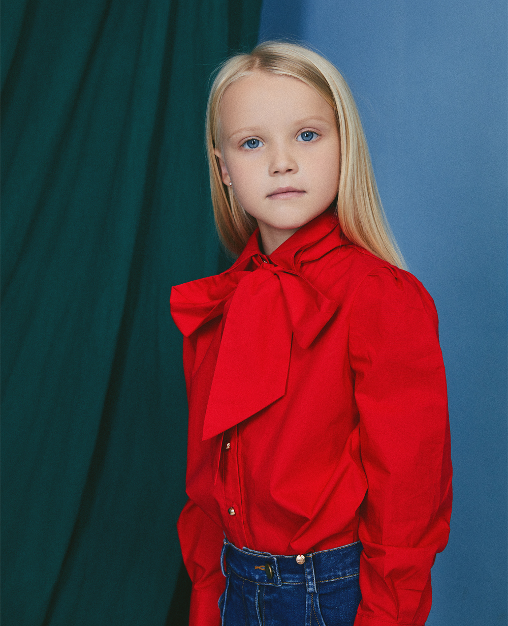 Red Cotton Pussy Bow Blouse
