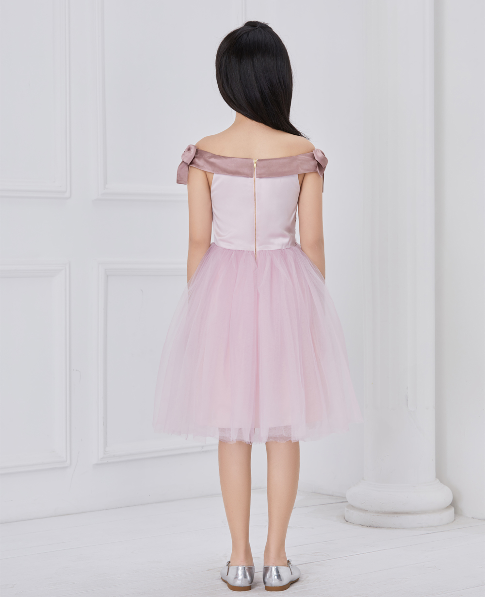 pink embroided tuelle dress