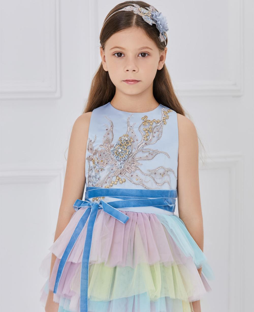 blue tuelle layered dress