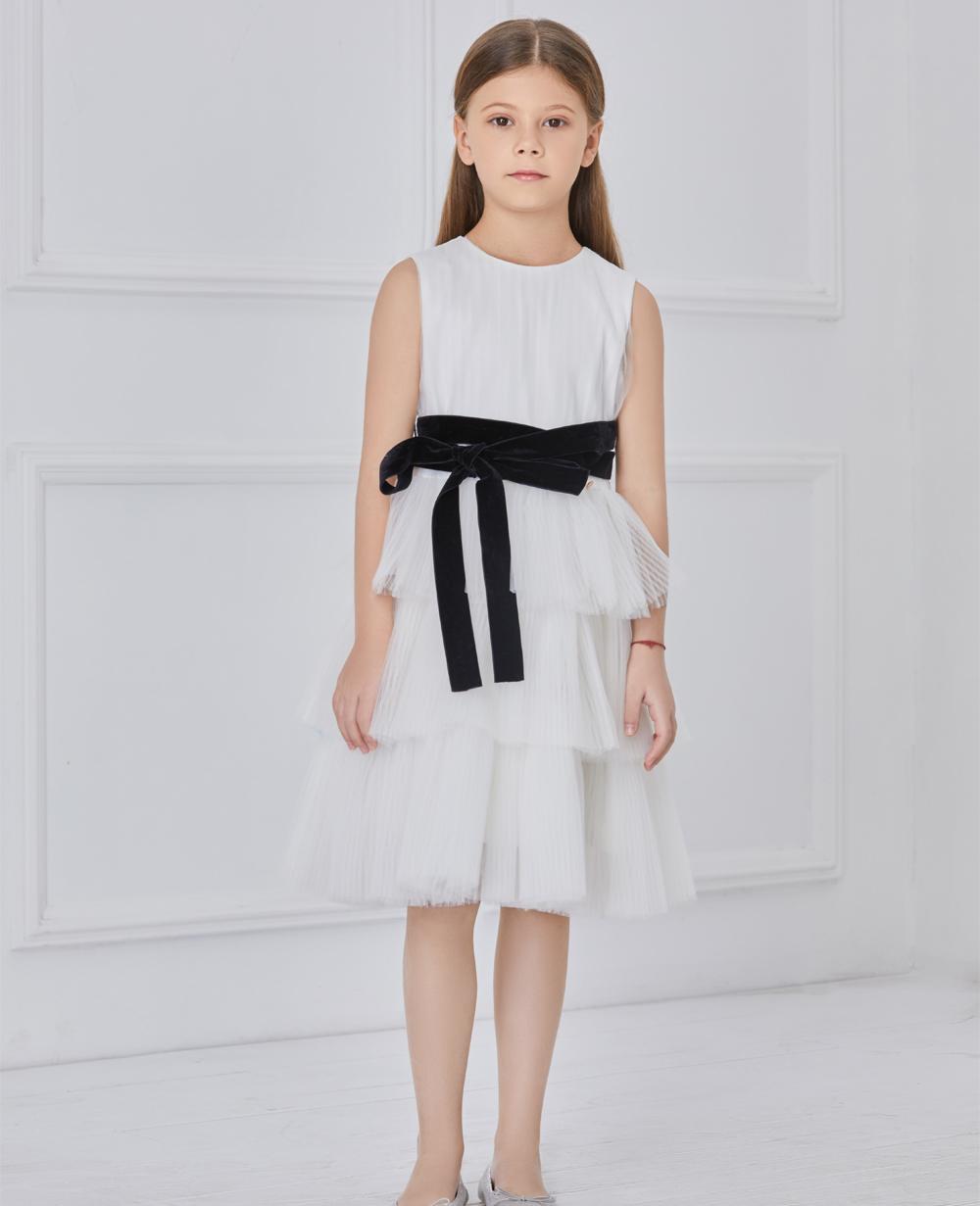 White with black sash tuelle dress