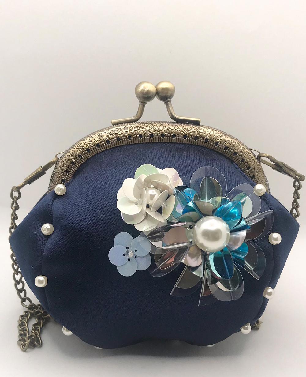 Navy Floral Handbag