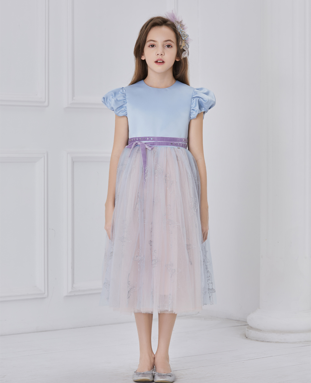 Blue and lilac capped sleeve tuelle dress
