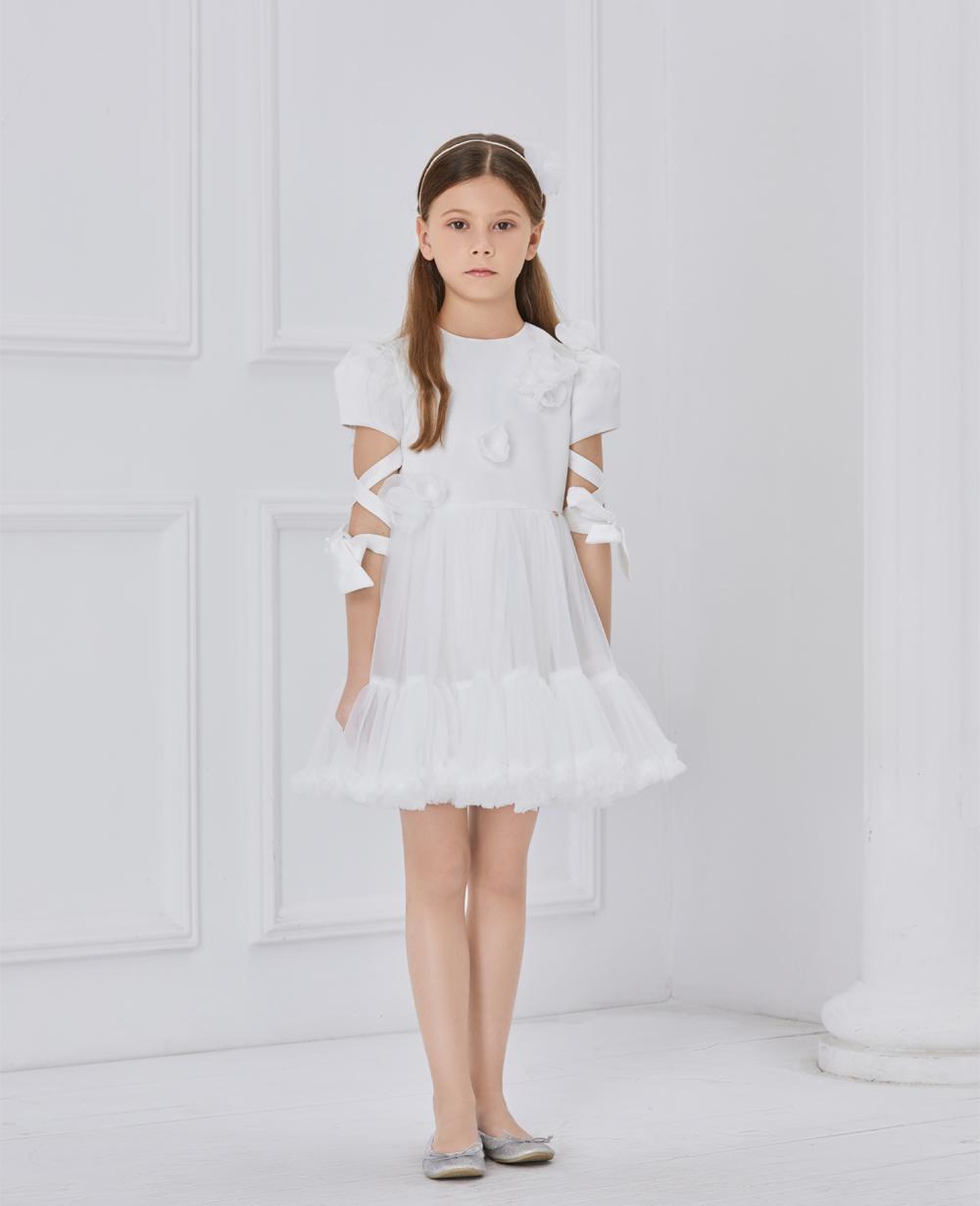 White Ribbon Tuelle Dress