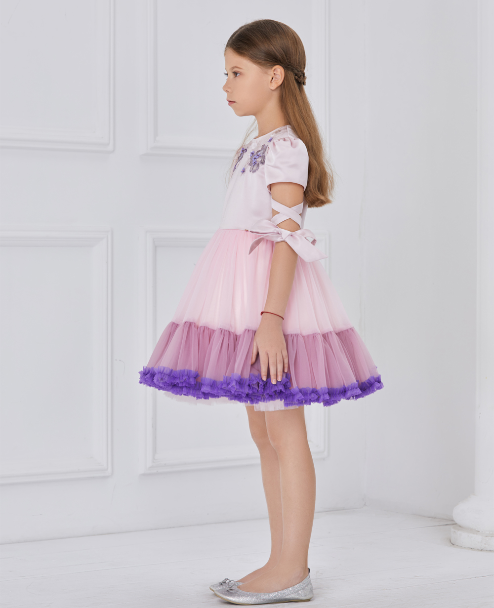 pink and purple tuelle dress