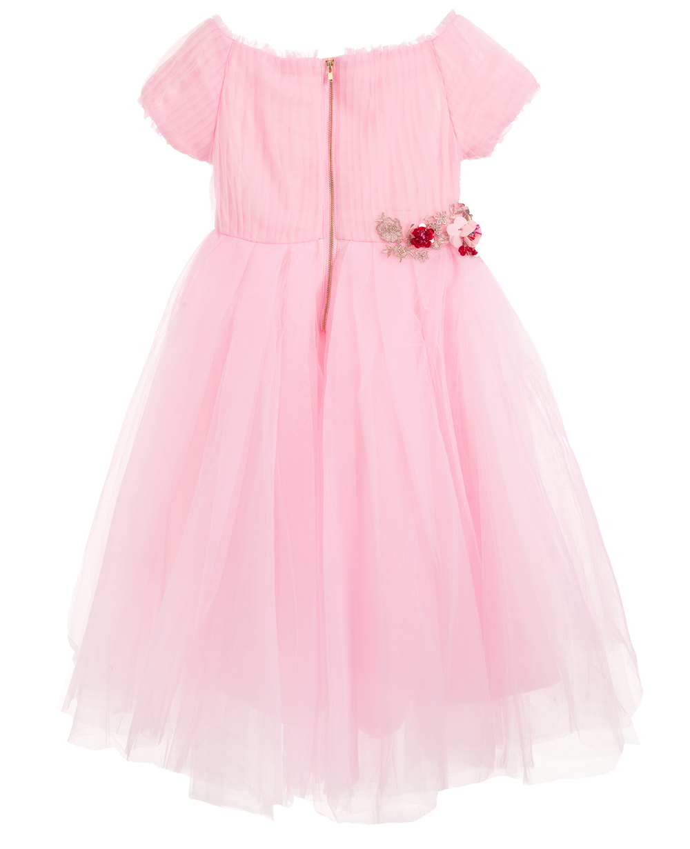 Pink Tulle Dress with Flower Embrodiery Short Sleeves Elegant Wedding Dress
