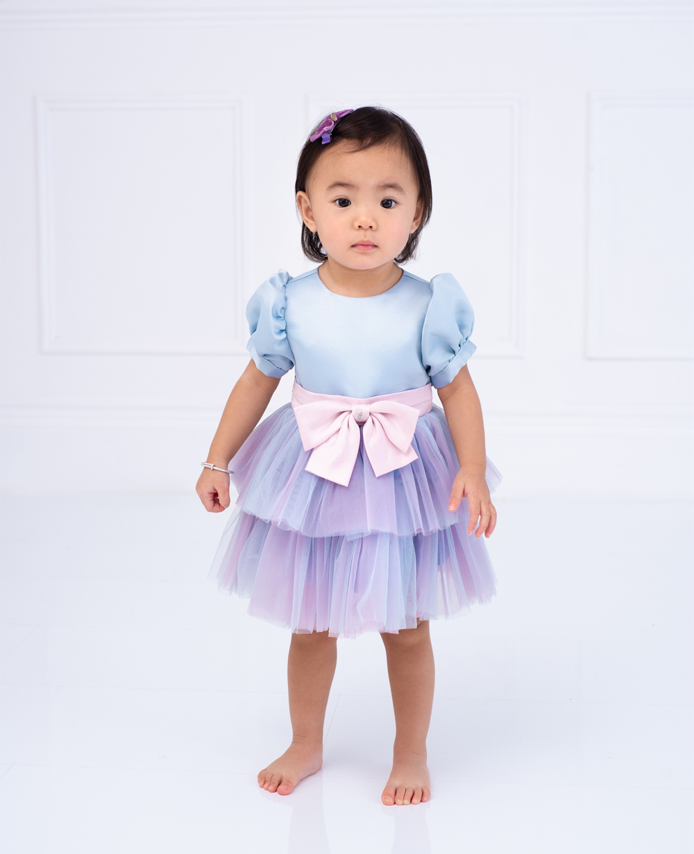 Baby Blue and Lilac Tuelle Dress