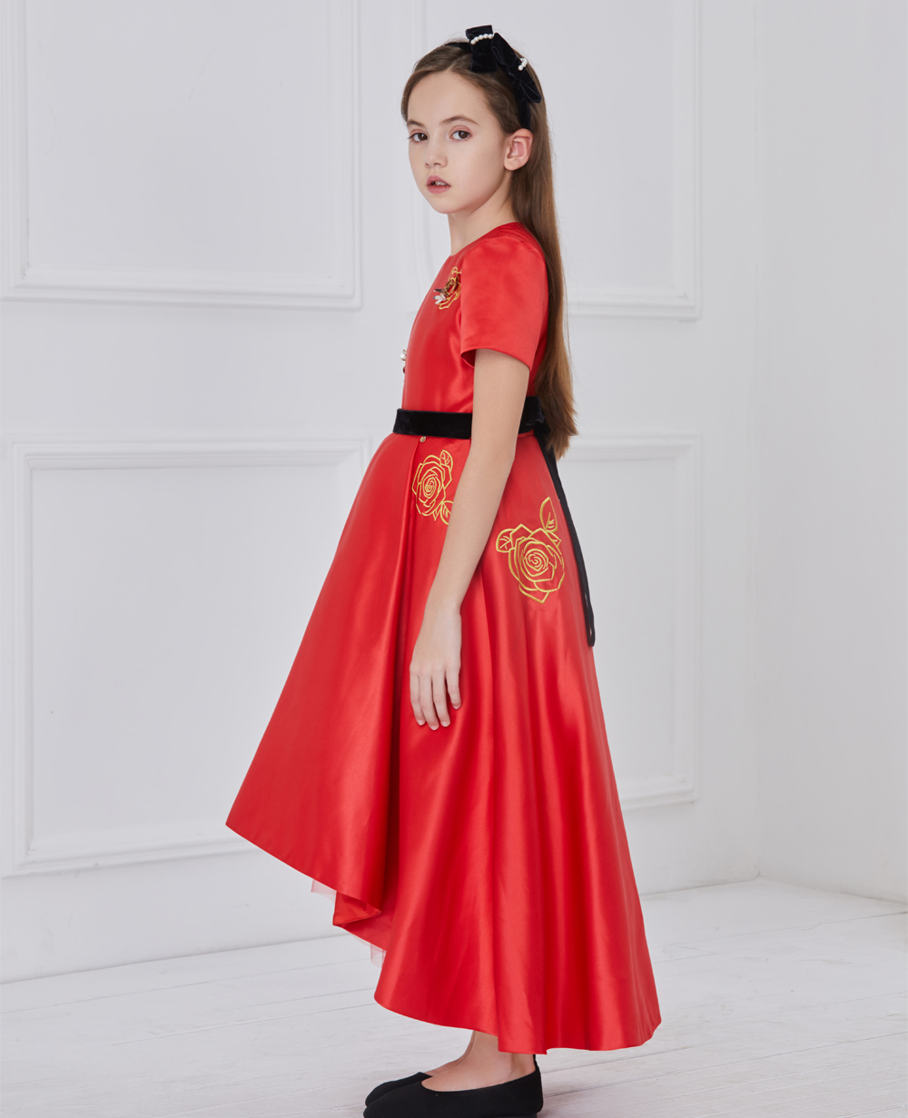 Red Satin Long Dress