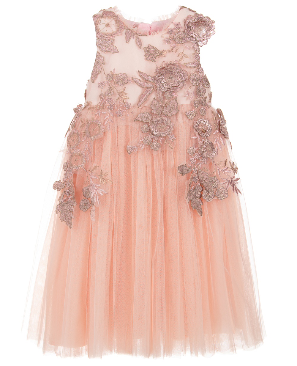 Champagne Dress with Flower Embrodiery Formal Wear Floral Dress Flowergirl