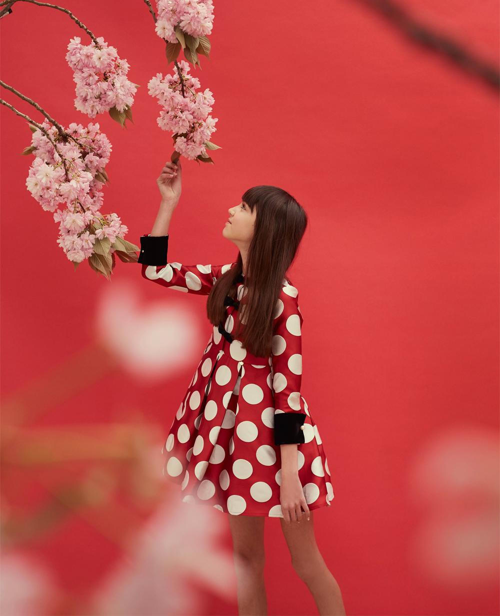 Red & White Polka Dot Brocade Long Sleeve Dress