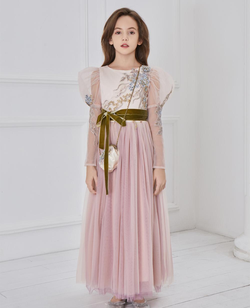 Long sleeve pink  floral dress