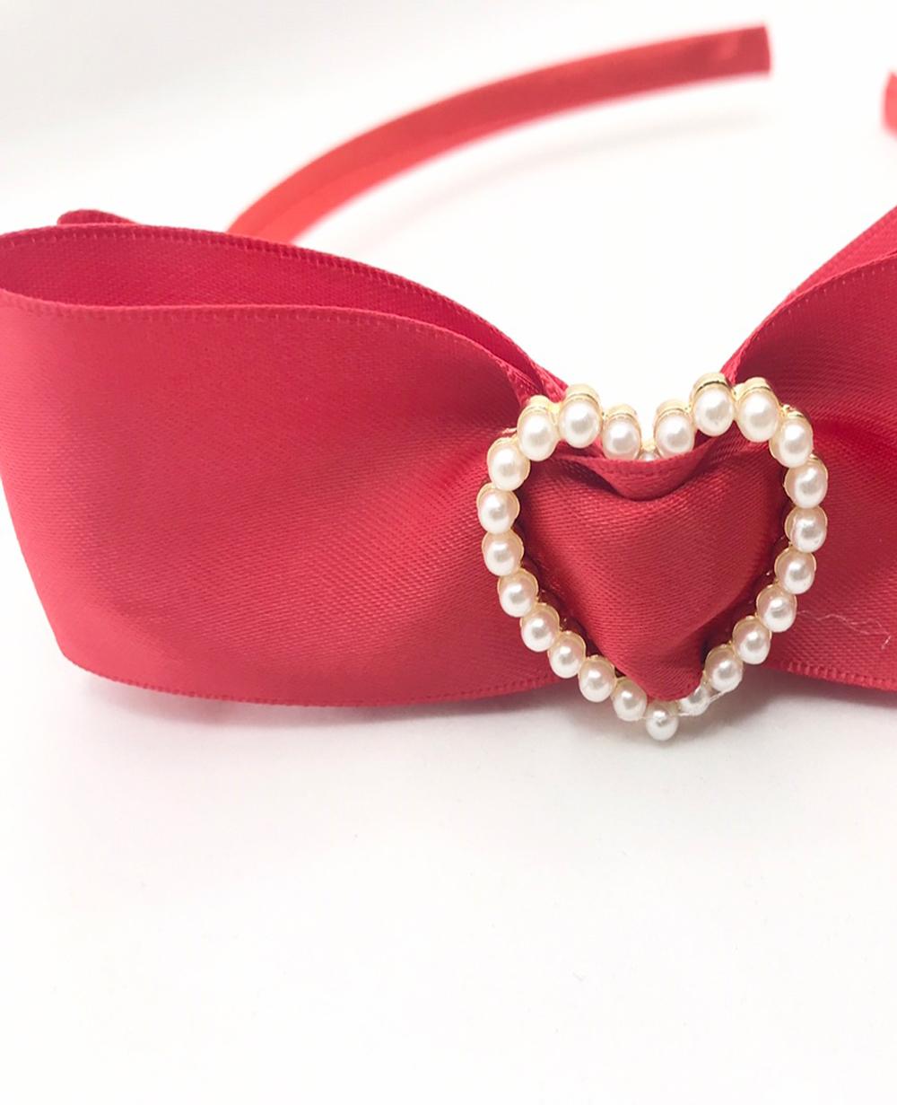 Red Pearl Heart Hairband