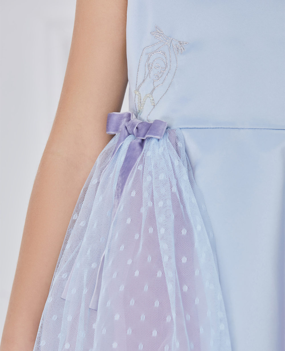 blue and lilac sleevess tuelle dress