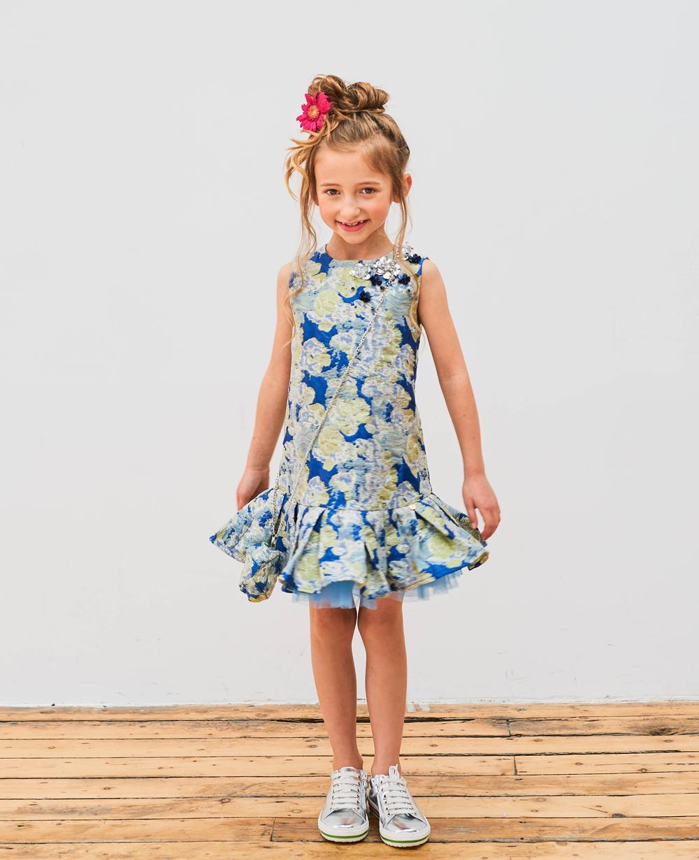 Blue Brocade Melody Dress