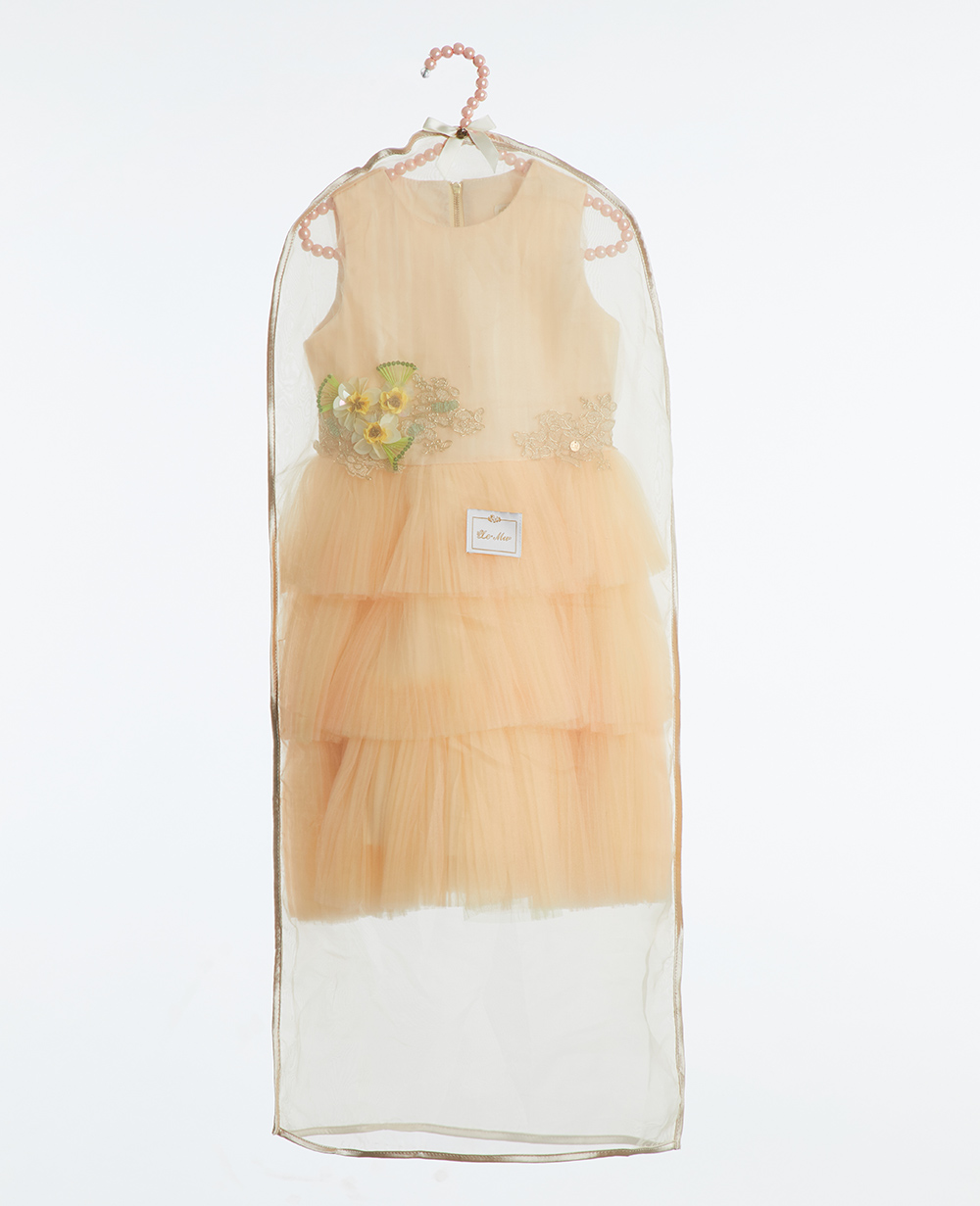 Ivory Tweed Embroidered  Dress Layered Tulle Skirt