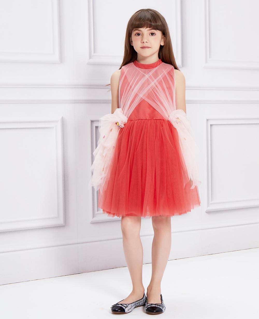 Red & Pink Sash Tuelle Dress
