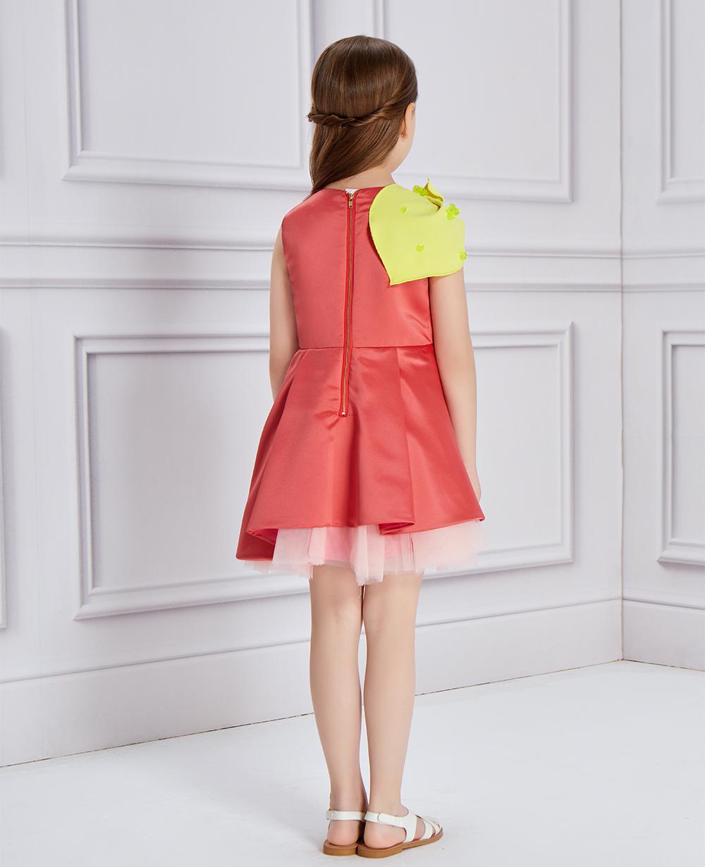Yellow Leaf Pink Satin Dress