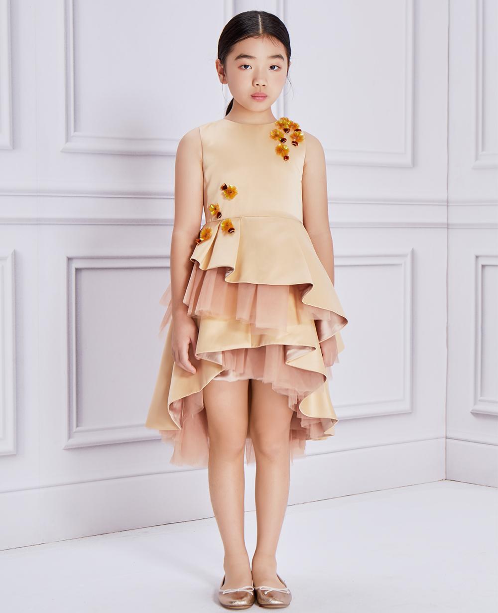 Gold Floral Embellishment Dress