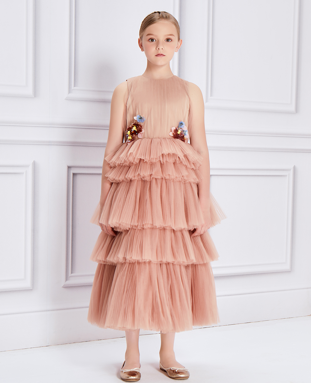 Rose Gold Tulle Layered Dress
