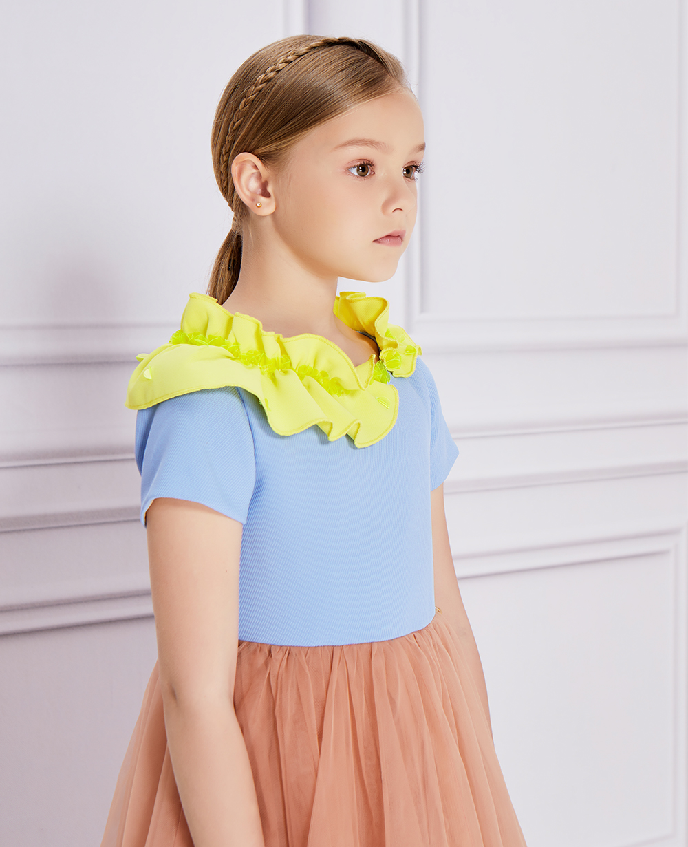 Yellow Leaf Pink Tulle Dress