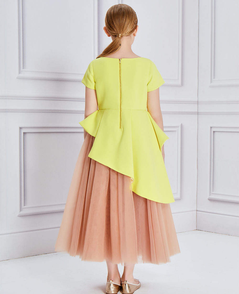 Neon Yellow Embroidery Tulle Dress