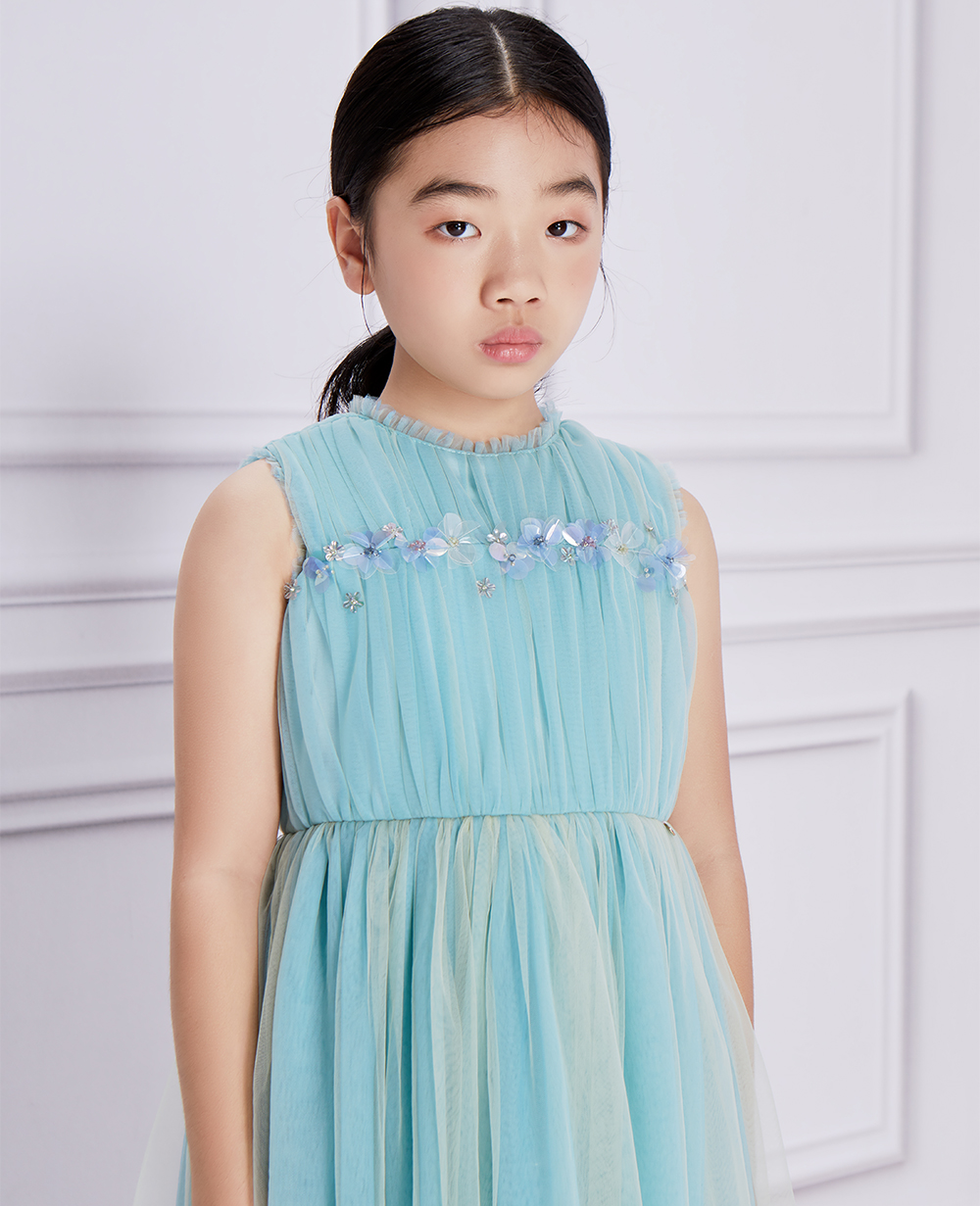 Aqua Tulle Lace Dress