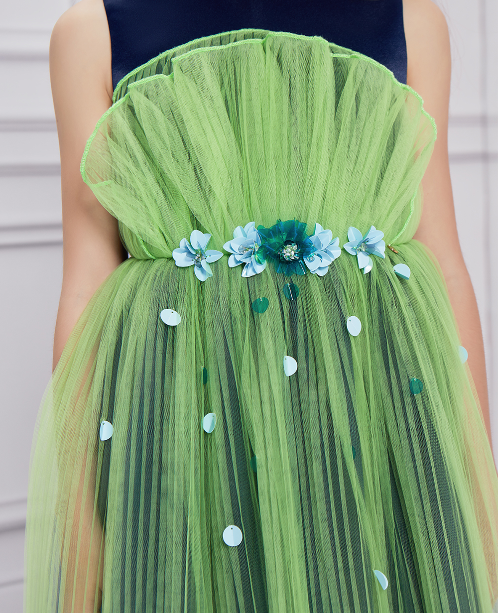 Midnight Blue  navy  & Green Tulle Dress