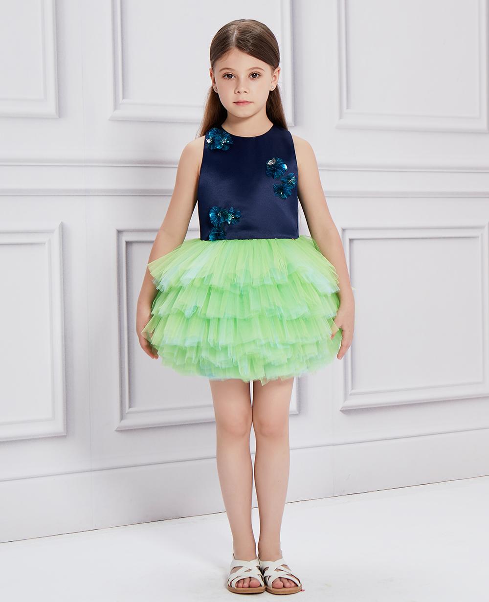 Midnight Blue & Green Ballerina Tulle Dress