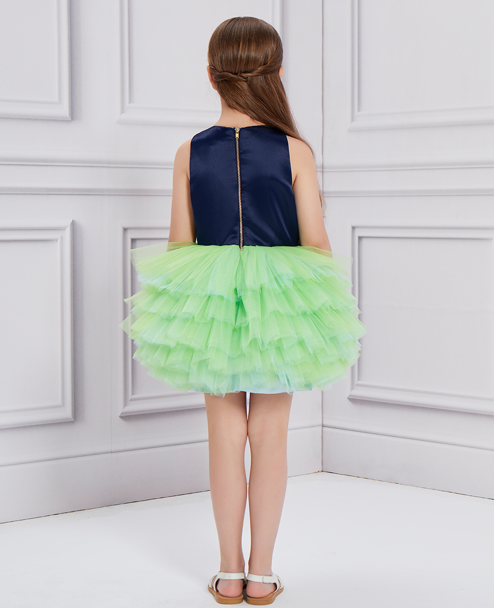 Midnight Blue & Green Ballerina Tulle Dress