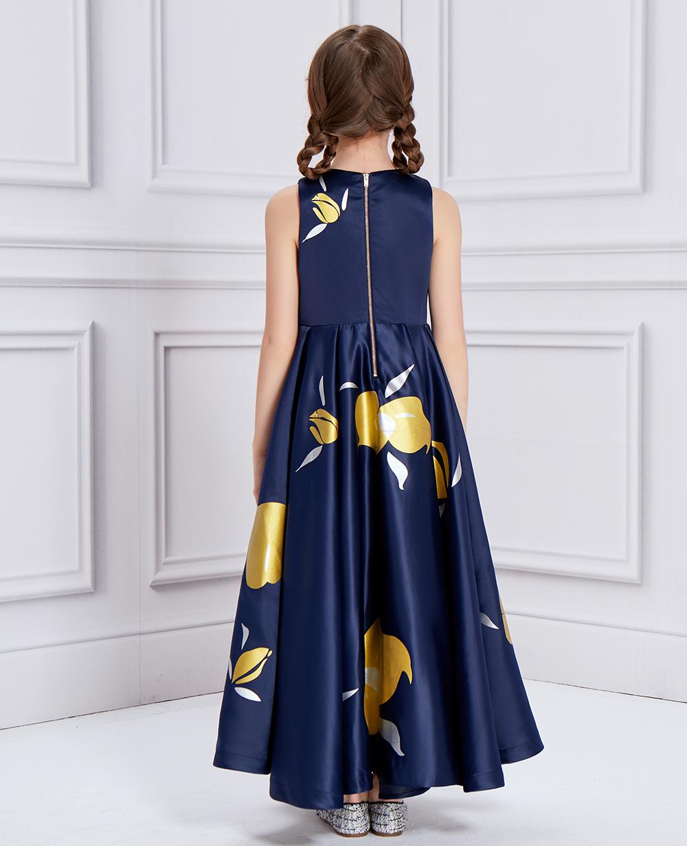 Midnight Blue Floral Print Princess Dress
