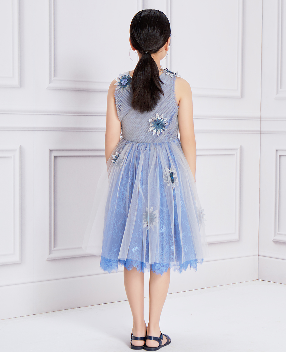 Blue Glitz Tulle Lace Dress