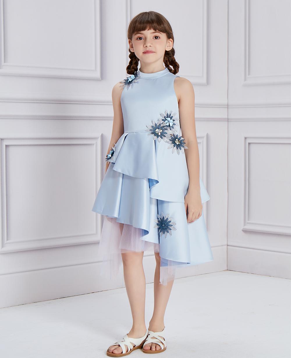 Lilac Floral Silk Satin Dress