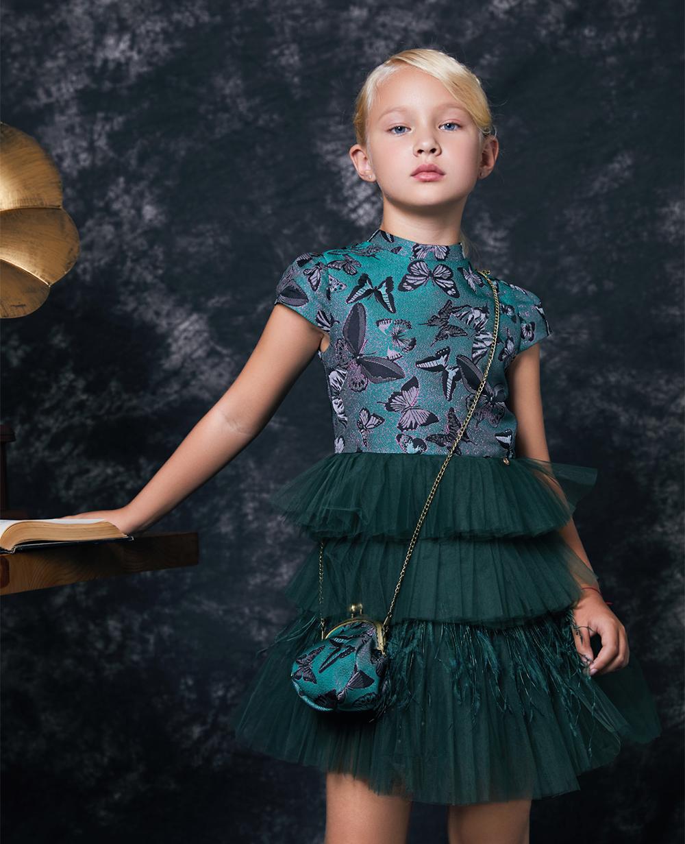 Emerald Green Brocade Tulle Dress Jacquard Dress