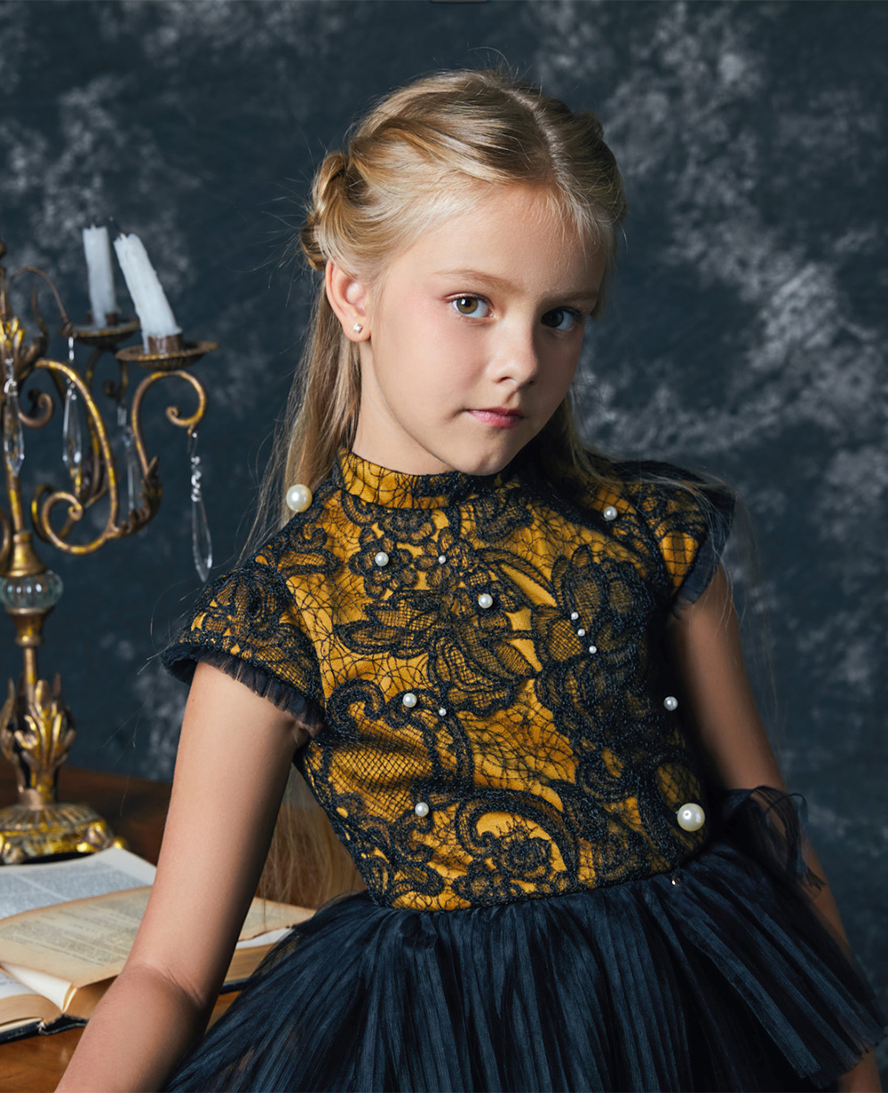 Black & Gold Dress Pearl Princess Dress Flowergirl