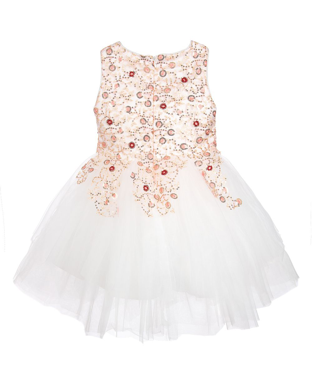 White Glitz Dress Ball Gown Embroidered Dress